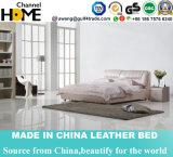 European Modern Design Pink Genuine Leahter Bed for Bedroom (HC217)