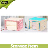 Oblong Quilt Home Fabric Folding Organizing Storage Box with Zipper