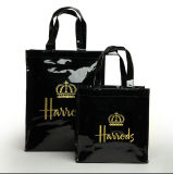 Hot Sale Waterproof Black PVC Shopping Bag with Zipper Closure
