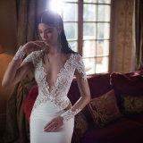 2017 Lace Long Sleeves Deep V-Neck Sexy Wedding Dress (Dream-100104)