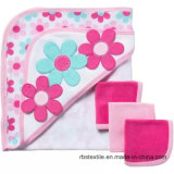 Knitted Cotton Baby Hooded Towel and Washcloth Set