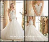 2017 Spaghetti Bridal Gowns Lace Mermaid Puffy Tulle Wedding Dress Mrl2874