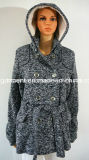 Winter Warm Long Pattern Knitting Outwear Over Coat for Women/Lady