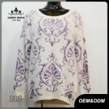 Women Purple Patterned Rib Pullover