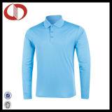100% Polyester Long Sleeve Pique Polo Shirt for Men