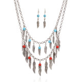 Fashion Jewellry Multi-Layer Leaves Beads Tassel African Indian Necklace Earring Set Jewelry
