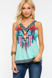 Summer New Style Hollow out Lace Back Strap Top Women Sexy Woman Loose Cotton Top