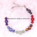 Natural Stone Round Beads Elasticity Rope Men Women Bracelet