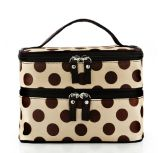 Double Layer Portable Satin Cosmetic Bag in Dots Pattern (YKY7507)