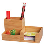 Bamboo Desk Organizer Office Supply Pen Holder