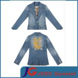 China Style Back Embroidered Split Lady Denim Suits (JC4024)