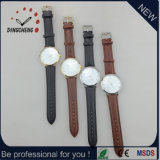 Popular Stainless Steel Backcase Lether Strap Wall Clock (DC-1216)