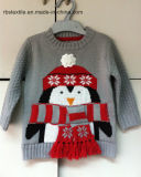 Grey Marl Penguin Intarsia Sweater - Ture Knitted Kids Sweater