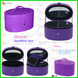 Arc-Shaped Purple Jewelry Case with Leather Handle (5102)