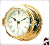 12 Hours Format Quartz Clock Roman Dial 150mm Open Type Brass Case