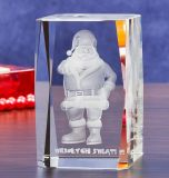 Father Christmas Crystal Glass Cube with 3D Laser Engraving