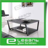 Tempered Glass Coffee Table with Black Iron Frame