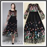 New Fashion Women Clothes Embroidered Chiffon Silk Long Party Cocktail Dress