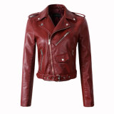 Red Wine Leather Women Zip Jacket