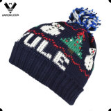 Fashion Acrylic Christmas Jacquard Pattern Knitted Hat with Pompom