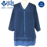 Blue Loose Newstyle V-Neck Long-Sleeve Rear-Zipper Bistratal Fashion Ladies Blouse