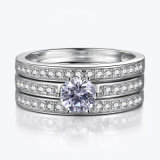 Silver Three-in-One Diamond Wedding Rings