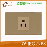 Brushed Stainless Steel 3pin Plug Wall Socket