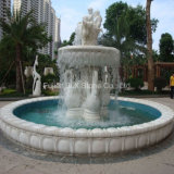 White Marble Angel Sculpture Large Water Stone Fountain with Pool