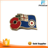 Custom Country Flag with Poppy Lapel Pin