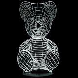 3D Visual Teddy Bear White LED Night Table Lamp