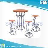Aluminum Modern High Wood Top Round Bar Table
