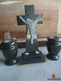 Black Granite Jesus and Cross Tombstone/Carving Headstone