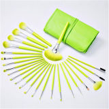 24PCS Professional Cosmetic Makeup Brush Set with Green Pouch Bag