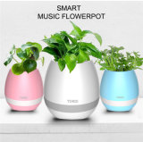Wireless Bluetooth Speaker with LED Light Smart Touch Music Flower Pot
