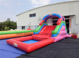No Printing Inflatable Climbing Wall and Slide with Swimming Pool