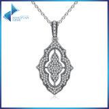 925 Sterling Silver Sparkling Lace Pendant Necklace, Clear CZ Pendant Necklace
