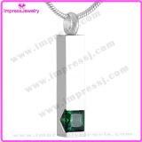 Ijd8094 Popular Pillar Stainless Steel Cremation Pendant Necklace Crystal Inlay Memorial Keepsake Locket Charm