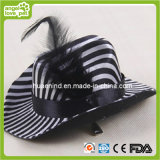 Black Leather Pet Hat Pet Black and White Stripes Hat