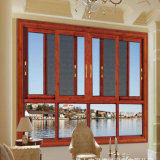 Aluminum Profile Frame Sliding Glass Open Window with Fly Screen Mesh