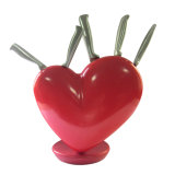 5PCS Stainless Steel Knives with Heart-Shaped Knife Holder