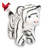 Realistic Stuffed White Tiger with Green Eyes Plush Toy