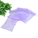 Purple Drawstring Organza Pouch for Wedding Favours