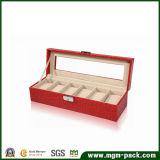 Red Luxury Handmade PU Leather Watch Box
