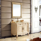 Solid Wood Bathroom Vanity Cabinet with Mable Countertop (13042)