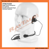 Single Ear Throat Activeted Microphone with D Shape Earpiece