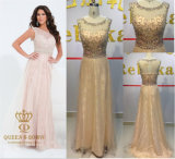 Luxury Evening Gown with Strong Floweral Beaded Party Dress