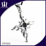 Op484 Black Enamel Flame Cross Pendant