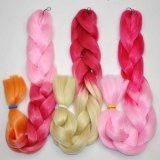 Synthetic Ombre Hair Braid 100% Kanekalon Jumbo Box Braid Hair Pink and Blonde Colors Extension Lbh040