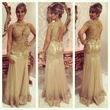 Gold Lace Evening Formal Gown Long Sleeves Mother Dress Prom Dresses Ld1555