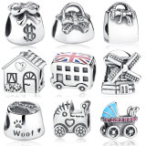 Handbag Windmill House Money Bags Baby Stroller London Bus Enamel Thread Charm Silver Charm Beads